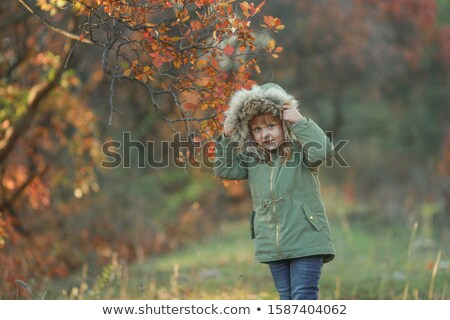 Girl child preschooler is on a green glade on the background of trees with yellow leaves Stock photo © ElenaBatkova