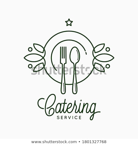 Restaurant or food logo with spoon, fork and plate logo Stock photo © krustovin