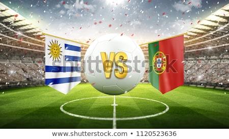 Уругвай против Португалия футбола матча иллюстрация Сток-фото © olira