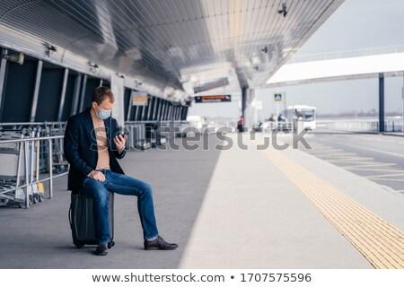 Európai férfi bőrönd busz vágány állomás Stock fotó © vkstudio