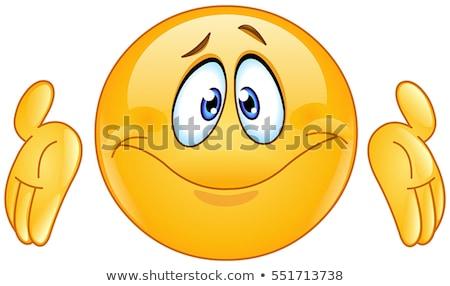 смайлик рукой знак лице человека счастливым дизайна Сток-фото © yayayoyo