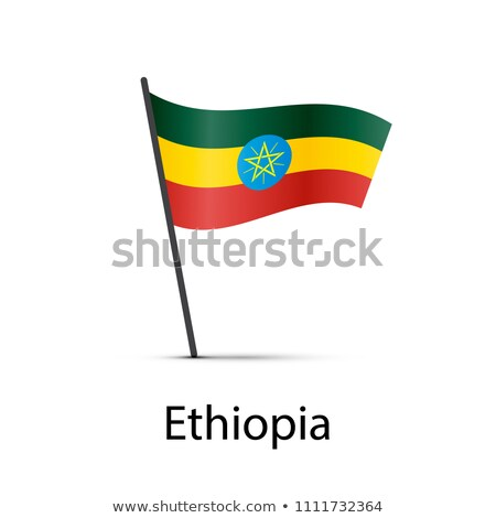 Ethiopia flag on pole, infographic element on white Stock photo © evgeny89