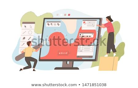Ontwerper illustrator computer pen illustratie business Stockfoto © jossdiim