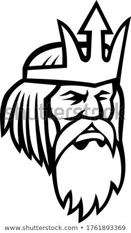 Fej néz oldal kabala feketefehér illusztráció Stock fotó © patrimonio