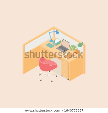 Stock photo: office desks and red chairs cubicle set