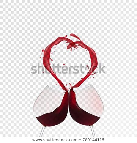 Foto stock: Paixão · amor · vermelho · líquido · forma · de · coração · isolado