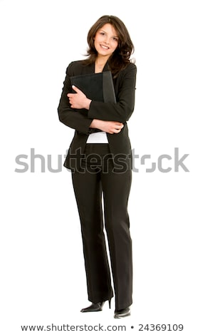 Fullbody business woman carrying a portfolio - isolated Stock photo © zurijeta