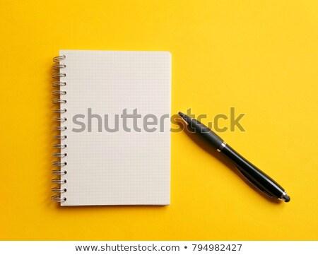 notepad · pen · Geel · kantoor · onderwijs · schrijven - stockfoto © borysshevchuk