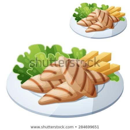 гриль · рыбы · овощей · пластина · иллюстрация · продовольствие - Сток-фото © freesoulproduction