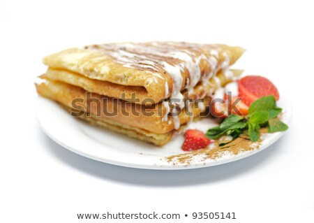 Pancake Fritters with strawberry and leaflets of mint Stock photo © zhekos