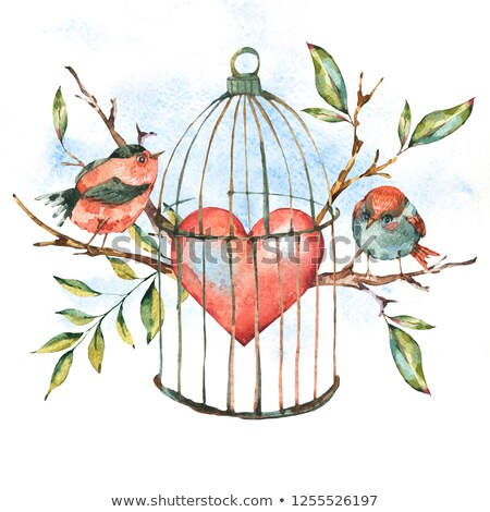 Valentine background with floral heart and cage Stock photo © Elmiko