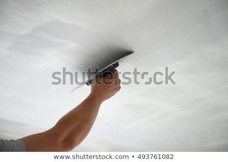 trabajador · yeso · techo · casa · construcción - foto stock © photography33