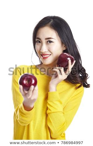 kız · kırmızı · elma · el · saç · meyve · kırmızı - stok fotoğraf © photography33