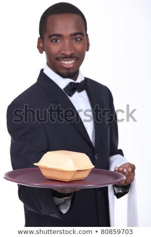 Waiter holding tray with fast food container Stock photo © photography33