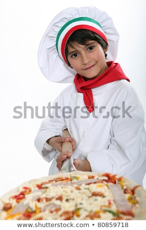 Young boy pretending to a be a pizza maker Stock photo © photography33