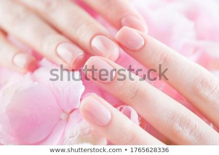 piękna · ręce · manicure · francuski · czarny · kwiat · strony - zdjęcia stock © vlad_star