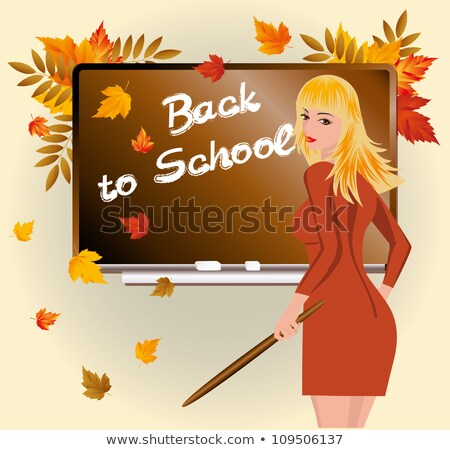Back to school. Schoolteacher with pick device. vector illustration Stock photo © carodi