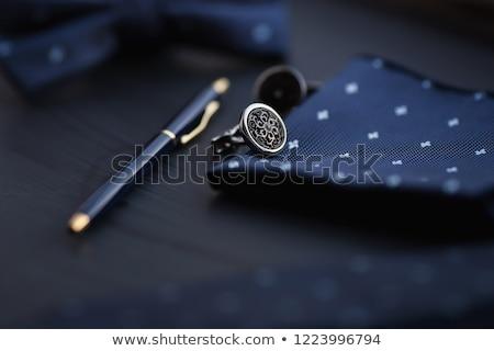 stylo · or · papier · fond · éducation · bleu - photo stock © pietus