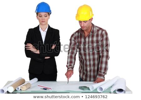 Handlowiec wskazując na zewnątrz błąd inżynier kobieta Zdjęcia stock © photography33