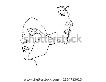 Young woman's portrait line-art illustration Stock photo © brahmapootra