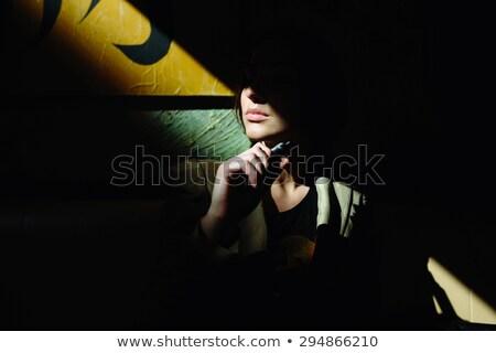 情熱的な 小さな ブルネット たばこ 孤立した 黒 ストックフォト © acidgrey