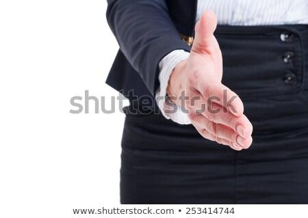 iş · kadın · sallamak · el · beyaz · gülümseme - stok fotoğraf © get4net