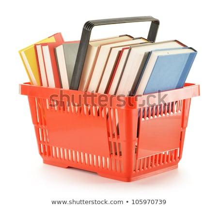 Könyvek bevásárlókosár könyv vásárlás fehér kosár Stock fotó © 4designersart