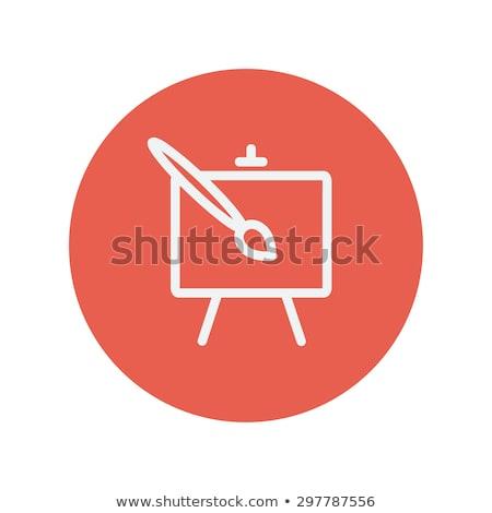 sztaluga · pędzlem · szkic · ikona · wektora · odizolowany - zdjęcia stock © zzve