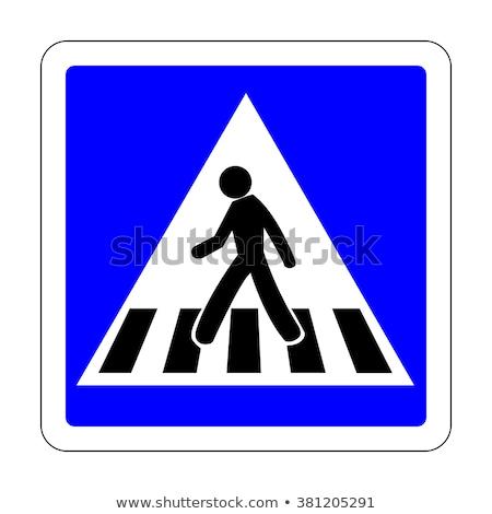 Gyalogos sáv felirat szülő gyermek sétál Stock fotó © kyolshin