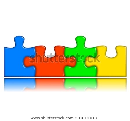 Combined multi-color puzzle with reflection - team concept stock photo © make
