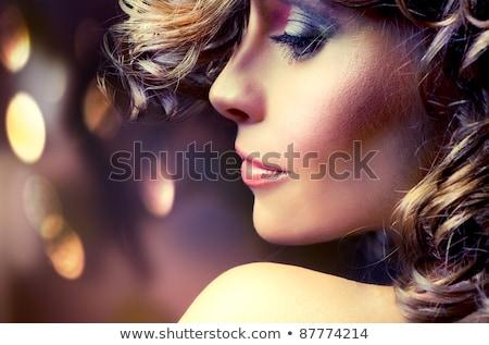 Stock fotó: Portré · gyönyörű · nő · göndör · haj · este · smink · ékszerek