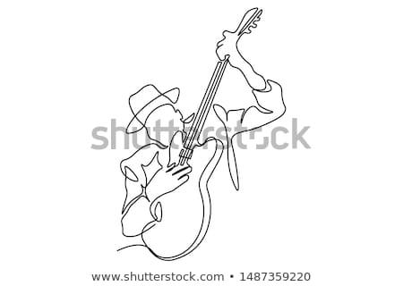 Dzsessz gitáros afro amerikai hang játék Stock fotó © isaxar
