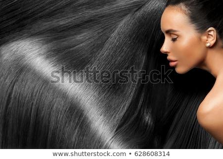 belo · mulher · negra · longo · cabelos · lisos · jovem · mulher - foto stock © tommyandone