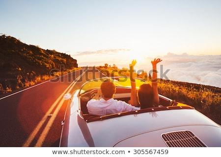 Pár sportautó út nap sportok fák Stock fotó © monkey_business