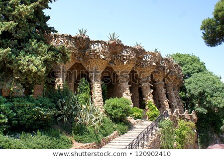 Famous stone colonnade in Parc Guell, Barcelona, Spain. Stock photo © tuulijumala