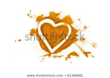 Dente de alho coração tempero isolado branco comida Foto stock © jonnysek