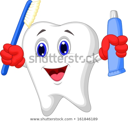 Happy cartoon molar tooth character holding dental toothbrush wi Stock photo © Thodoris_Tibilis