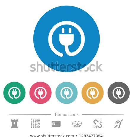 Elektrische plug icon illustratie oranje ontwerp Stockfoto © nickylarson974