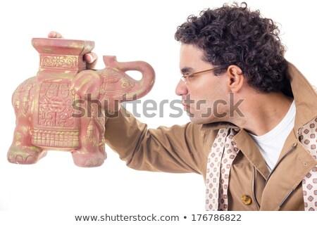 профессор пальто очки глядя старые улыбаясь Сток-фото © feelphotoart