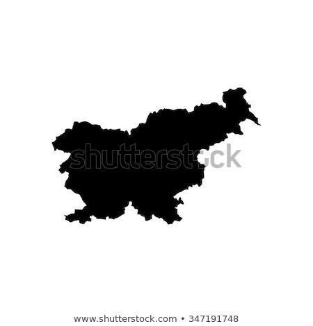 Silhouette mappa Slovenia segno bianco Foto d'archivio © mayboro