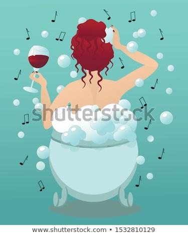 時間 リラックス かわいい 女性 泡風呂 入浴 ストックフォト © lordalea