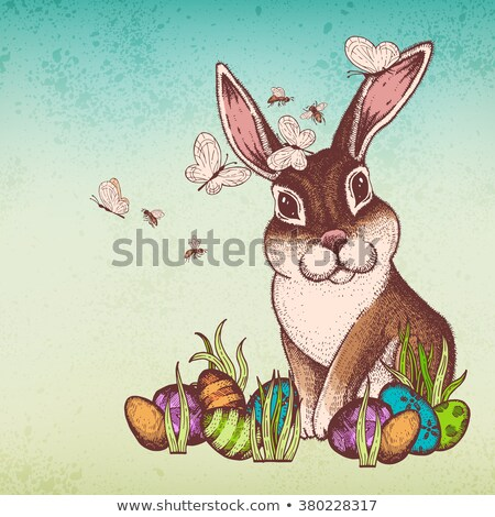 easter bunny holding a basket with eggs retro card stock photo © orensila