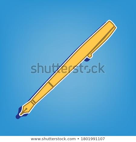 Ink Pen Golden Vector Icon Button Stock photo © rizwanali3d