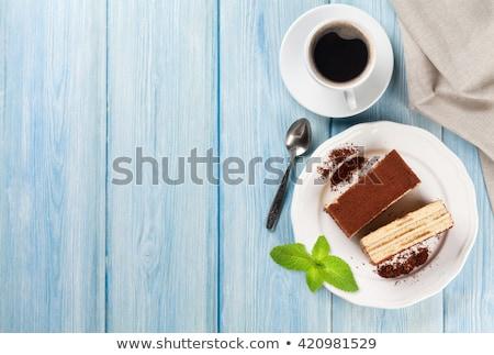 delicioso · peça · úmido · bolo · de · chocolate · café · comer - foto stock © oleksandro