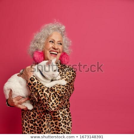 Nő rózsaszín leopárd ruha izolált fehér Stock fotó © Elnur