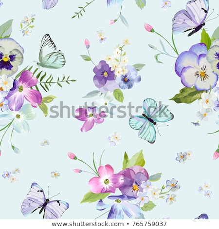 Butterfly and flowers pattern stock photo © cienpies