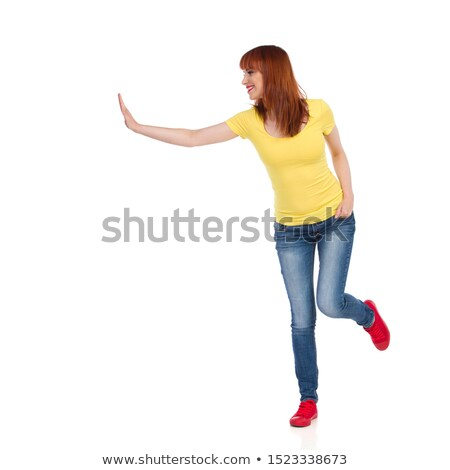 isolated woman pushing something stock photo © fuzzbones0