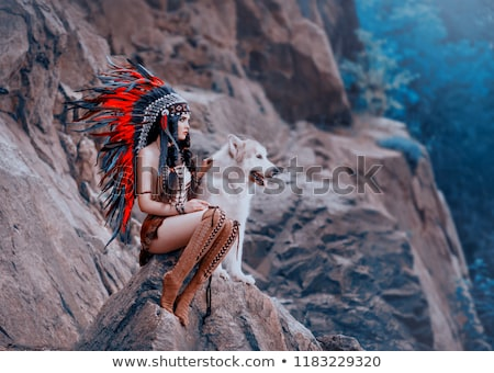 Attractive girl with beads Stock photo © Aikon
