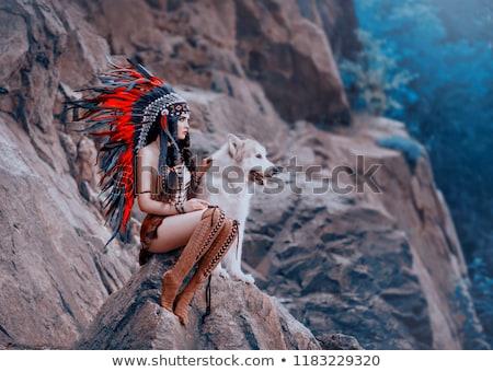 portrait · séduisant · puce · femme · dame · ciel - photo stock © aikon