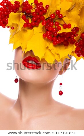 Carnaval moda otono mujer máscara Foto stock © alphaspirit